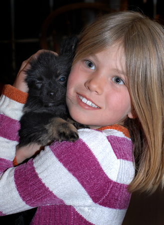 Who is loving on who?  Pomeranian winks he thinks he knows.  Young girl cuddles her Pomeranian puppy against her cheek.