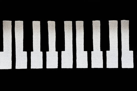 Graphic image shows the white piano keys cracked and brittle with age.   写真素材