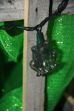 Frog light hangs against a rustic wooden fence.  He is all alone and justing hanging out.  He is green and plastic. Zdjęcie Seryjne