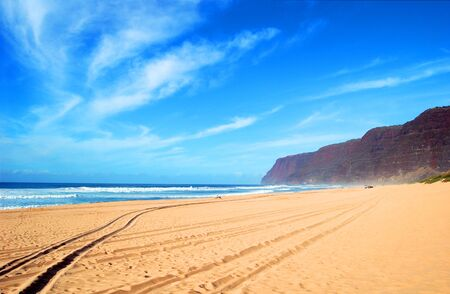 Tire tracks, in the sandy beach of Polihale State Park on Kauai, Hawaii, lead to a deserted beach.  Only a few beach goers are enjoying the solitude. Banco de Imagens