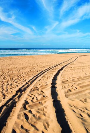 Tracks remain in the beach sand of a vehicle visiting Polihale Beach State Park on the Island of Kauai.  Tracks disappear into the distance heading to Beach.