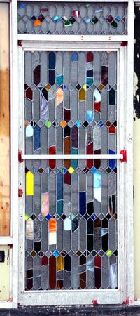 Stained Glass Spray Paint.Unique Stained Glass Door Has Multiple Colors Red Spray Paint