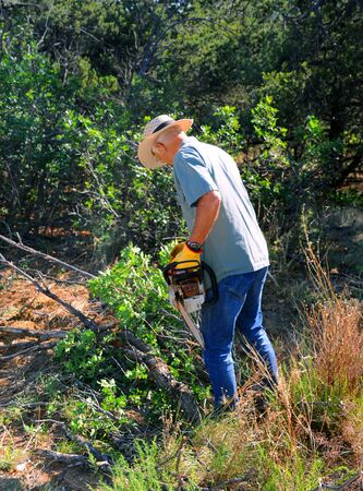 With chainsaw in hand, mature man works to cut firewood. He is wearing jeans and a work shirt and hat.