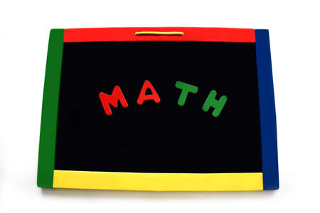 Wooden letters spell math on a black magnetic board.  Board is rimmed with primary colors.