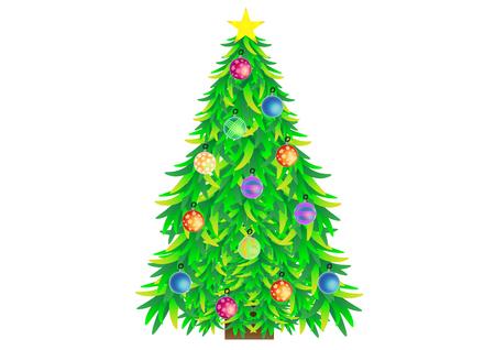 christmas tree illustration: illustration of decorated Christmas tree
