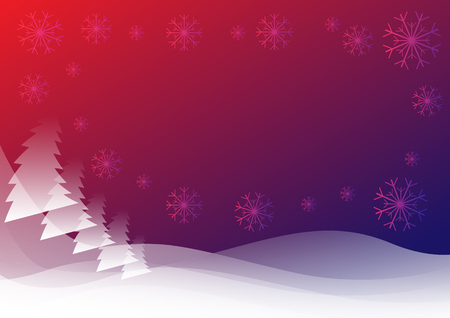 illustrator 10: red blue abstract winter background with snowflakes and Christmas trees Illustration