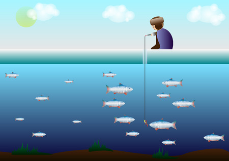 ice fishing: the fisherman sits on the ice and beneath the ice fish Illustration