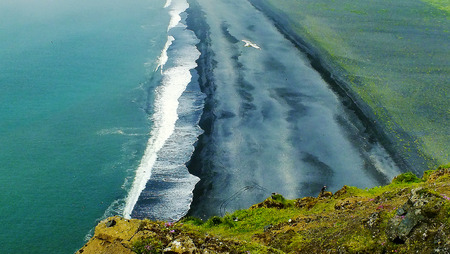 otherworldly: Black volcanic sandy beach in Iceland