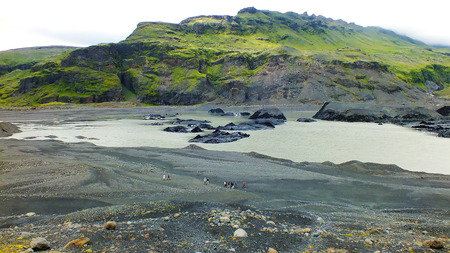 remoteness: Solheimajokull glacier tongue, which is part of Myrdalsjokull glacier Stock Photo