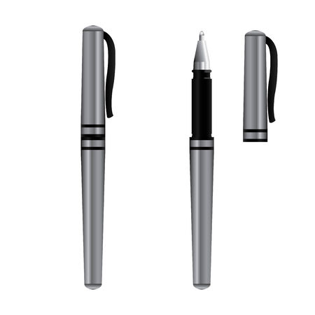 Black pen isolated on the white background  Vector illustration Ilustração