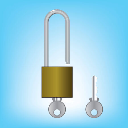 padlocks with keys isolated over white background  vector Ilustração