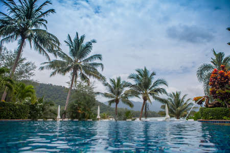 View of the pool by the sea. Banco de Imagens - 83848577