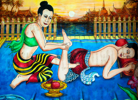 A painting of traditional Thai massage