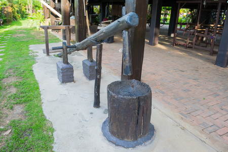 pestel: The Ancient wooden mortar and pestel