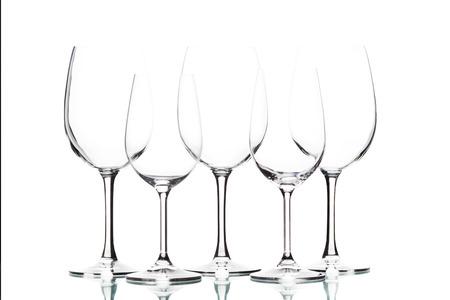 white wine: Isolated wine glasses on white