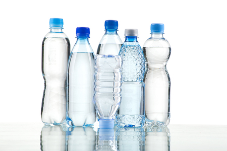 water bottles: Different water bottles isolated on white