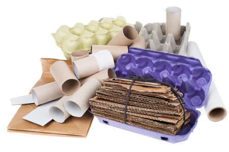reuseable: Recyclable cardboard waste isolated on white Stock Photo