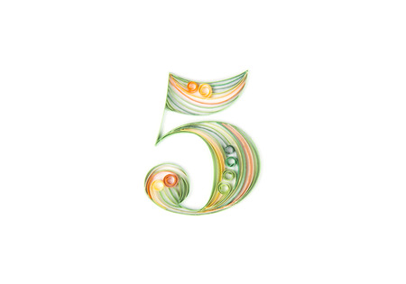 quilling: Colorful paper quilling. Number five Stock Photo