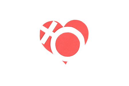 devotion: Cardboard figure of heart symbol speech. The symbol love of love Stock Photo