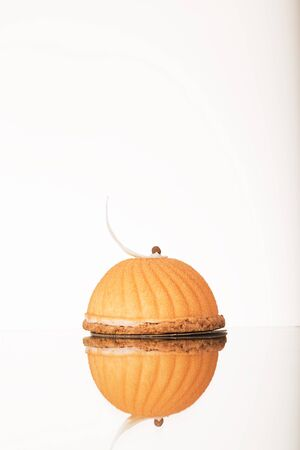truncated: Sweet cupcake on white background