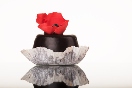 Tasty chocolate cupcake with poppy isolated on white Stock Photo