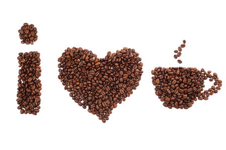 decaf: I love coffee isolated on white background