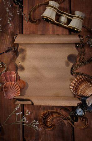 desperado: Old paper on wooden background