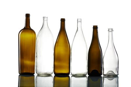 aligote: Empty bottles isolated over the white background Stock Photo