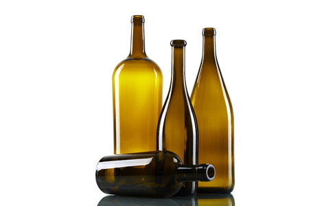 riesling: Empty bottles isolated over the white background Stock Photo