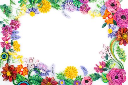 quilling: Paper quilling,colorful paper flowers. Stock Photo
