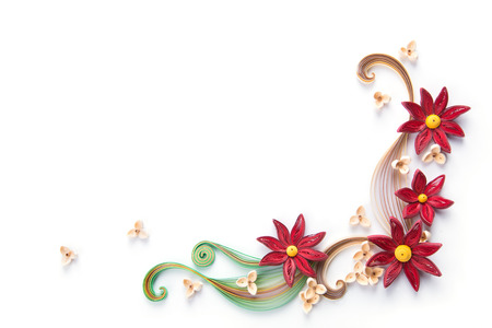 quilling: flowers made quilling on a light background Stock Photo