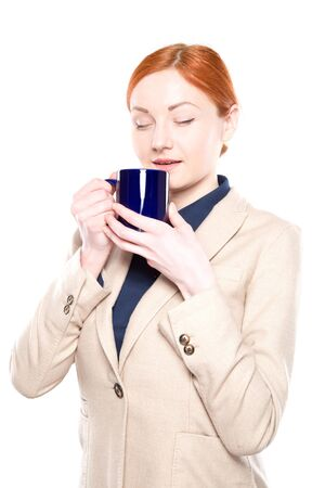 inhaled: Portrait of happy business woman inhaled coffee smell , isolated on white bachground