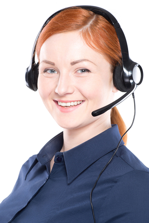 handsfree phones: Portrait of happy smiling cheerful support phone operator in headset, isolated on white background