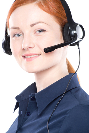 handsfree telephone: Portrait of happy smiling cheerful support phone operator in headset.  Isolated on white background