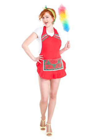picture of beautiful red hair woman with cleaning sweep
