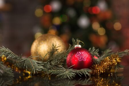 firtree: Christmas decoration balls with fir-tree