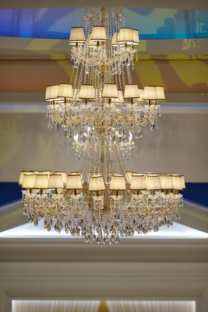 beautiful crystal chandelier in a room.