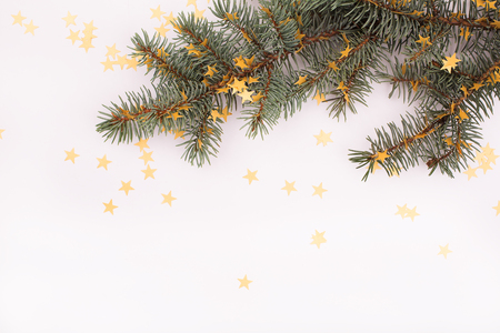 decorated tree: Christmas decorated tree over white. Stock Photo