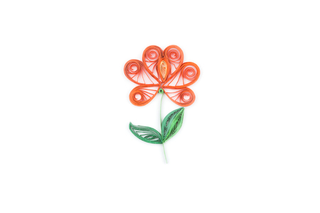 quilling: flower made by quilling on a light background. Stock Photo