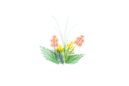 quilling: flower made in quilling on a light background. Stock Photo