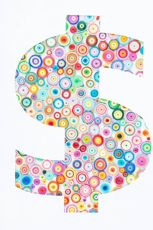 quilling: Concept of dollar on colorful paper made with quilling technique on white background