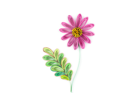 quilling: flower made by quilling on a light background Stock Photo