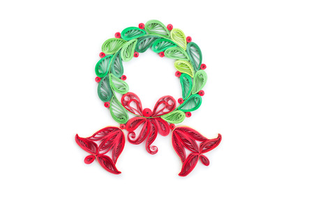 Creative paper wreath on a white background. Quilling art