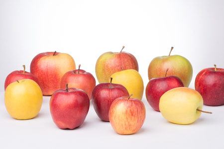 Group of  apples on white background.