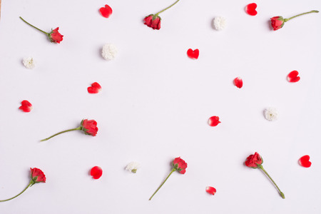 season s greeting: Red roses and carnations on white background.