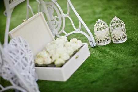 formal dinner party: Wedding decor outside with flowers. Stock Photo