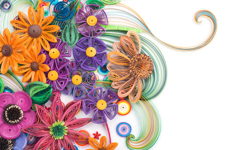 Beautiful flowers made in quilling art Stock Photo
