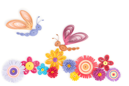 quilling of colorful flowers and two butterflies