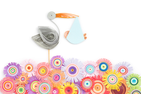 quilling with storks and flowers on a white background Stock Photo - 100763818