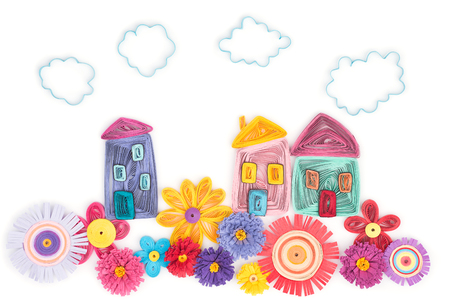 quilling from houses and flowers on a white background